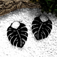 Black Monstera Hoops