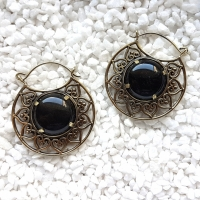 Pretty Golden Obsidian Hoops