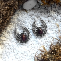 Silver Tiger Eye Hoops