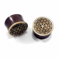Wooden Flower of Life Plugs