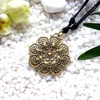 Golden Mandala Flower Necklace