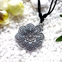 Silver Mandala Flower Necklace