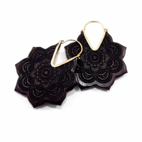 Wooden Mandala Flower Hoops